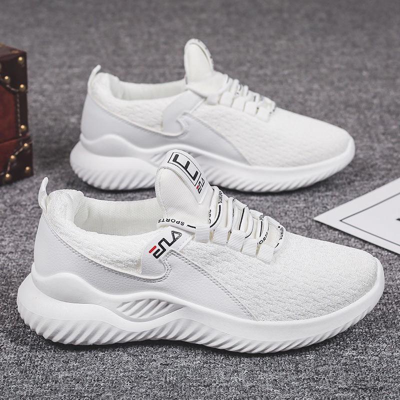 Giày Thể Thao Sneaker Nam Đế Cao Su Vải Lưới Thoáng Khí Mẫu Mới Năm 2021 Hai Màu Đen Trắng GN027