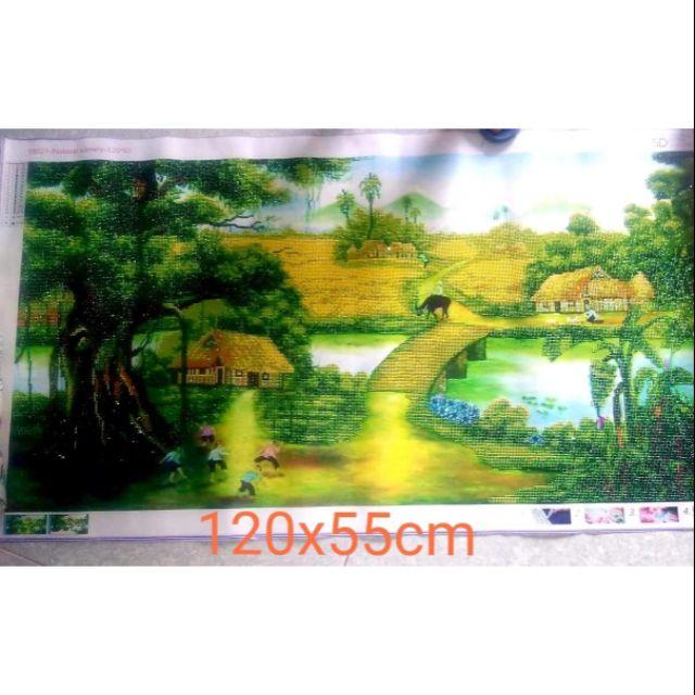 Tranh thành phẩm đính đá phong cảnh làng quê yên bình tuyệt đẹp kt 120×55cm