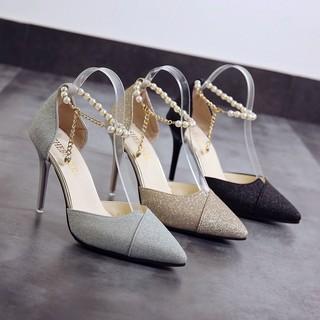 Giày cao gót bít mũi gót nhọn 9p dây ngọc mã TH40 thumbnail