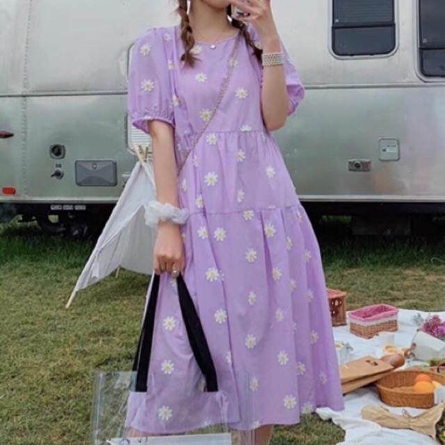 Đầm baby doll hoa cúc 2 màu - váy hoa cúc tím ulzzang (hình shop tự chụp/sẵn)