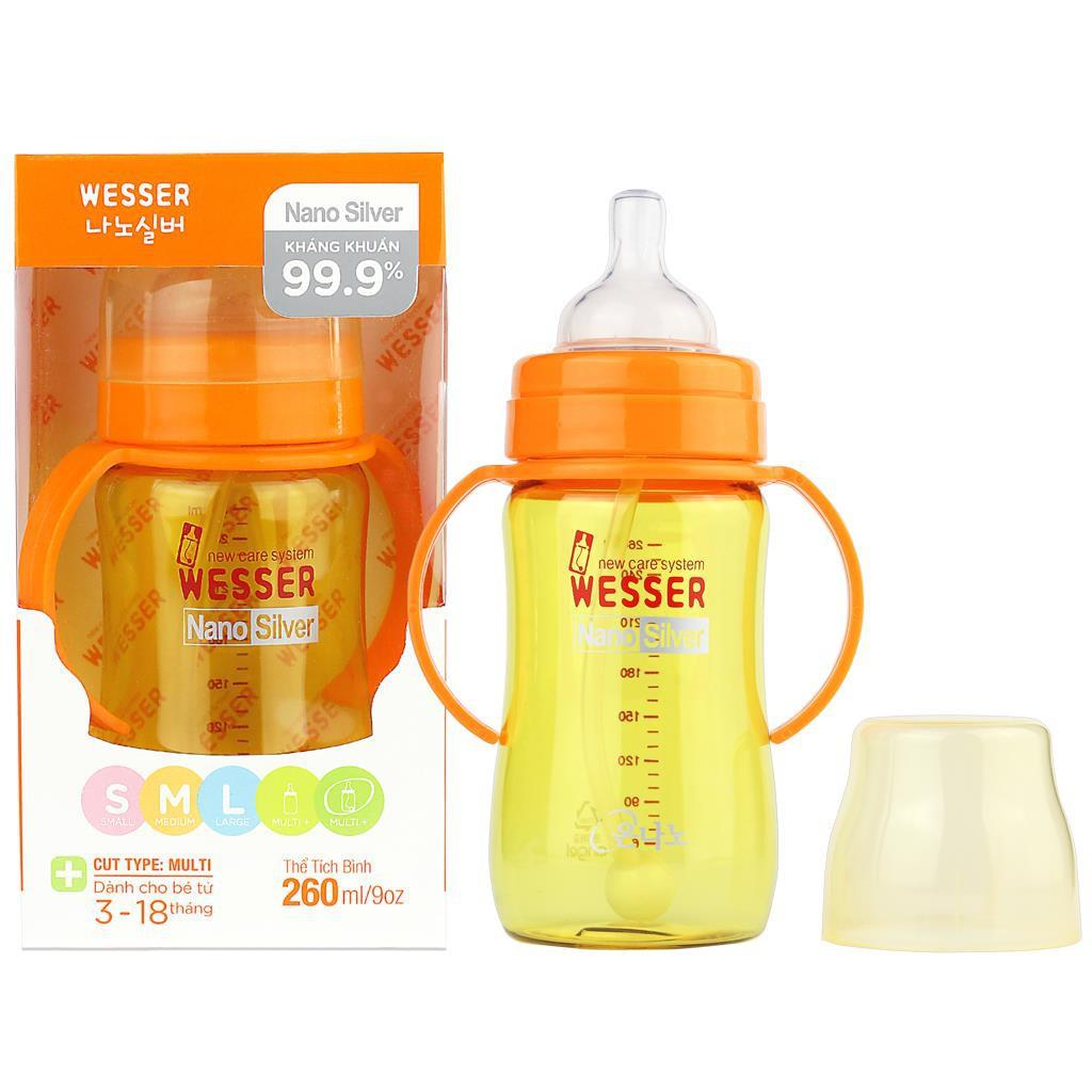 Bình sữa Wesser 260ml ống hút