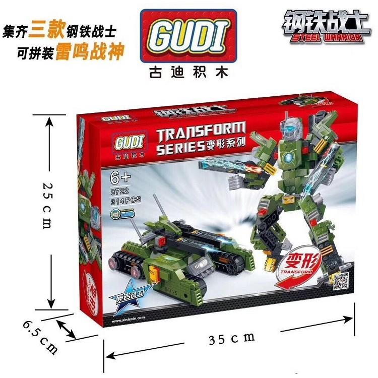 Bộ xếp hình Gudi 8722 Robot biến hình Rock Warrior – 311 chi tiết