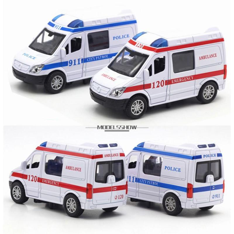 [Mã TOYJAN hoàn 20K xu đơn 50K] Đồ chơi xe cứu thương mini bằng sắt tỉ lệ 1:32 mở cửa...