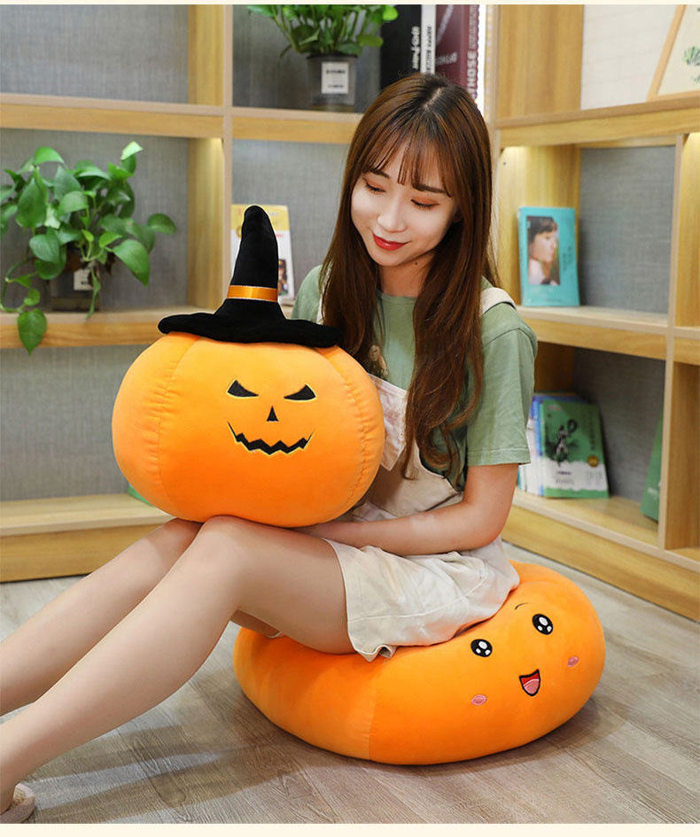 Gối Nhồi Bông Hình Quả Bí Ngô Halloween Đáng Yêu
