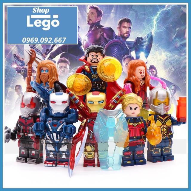 Xếp hình Avenger Thor Captain Marvel Ant man dr Strage  Wasp Scarnet Witch War Machine Iron Man Lego Minifigures Wm6063