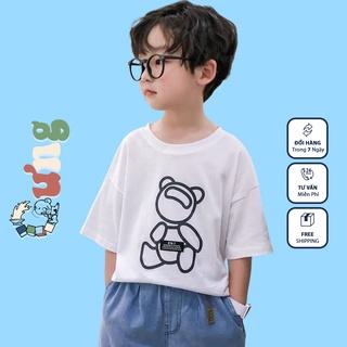 Áo thun trẻ em CƯNG, áo phông cotton cộc tay GẤU VIỀN bé trai bé gái từ 12kg tới 35kg thumbnail