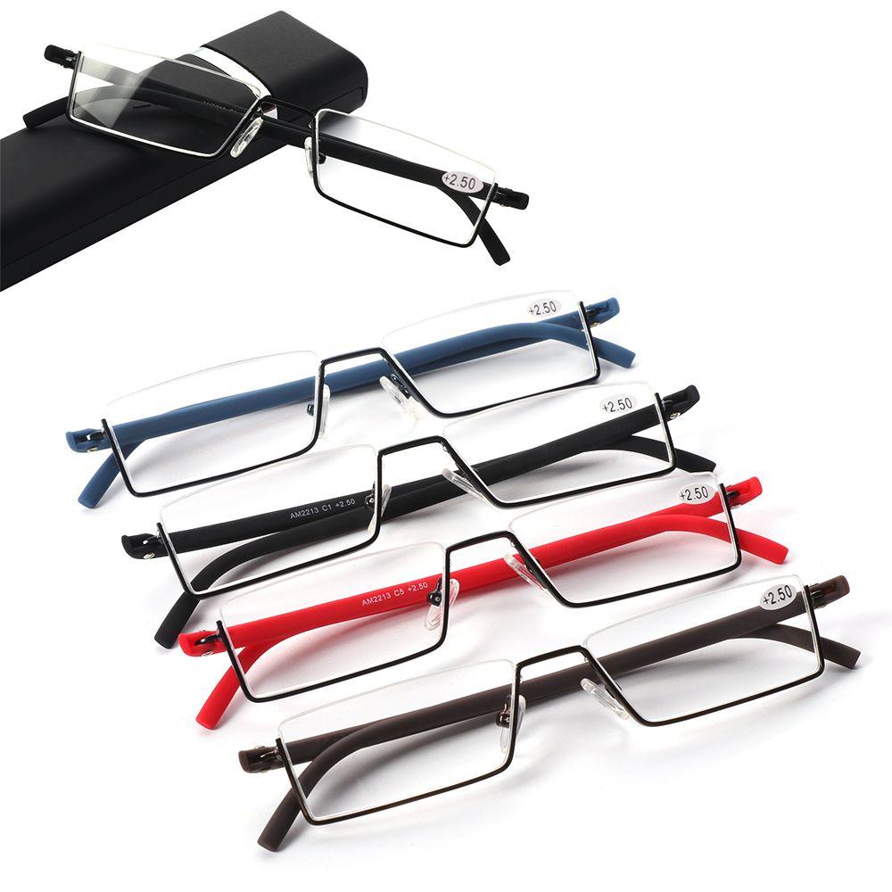 🌸EUTUS🌸 Vision Care Reader Eyeglasses with Case Half Frame Reading Glasses Portable TR90 Ultralight Unisex Semi Rimless/Multicolor