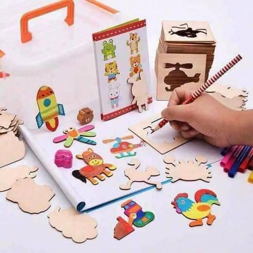 Bộ ghép hình kèm 55 khuôn vẽ bằng gỗ cho bé ( tặng 1 tệp vỡ vẽ)