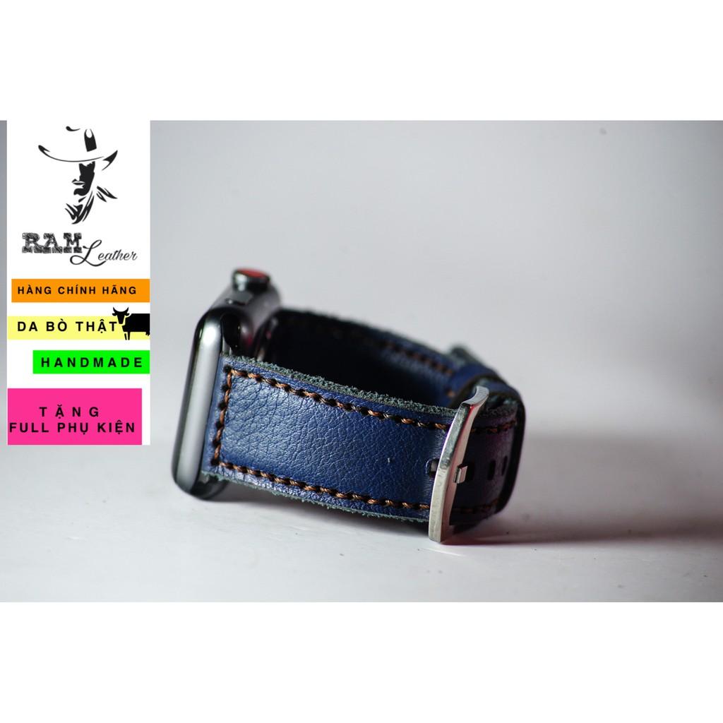 Dây đồng hồ da bò thật xanh navy handmade cao cấp RAM Leather classic 1958 - tặng khóa chốt và cây thay dây