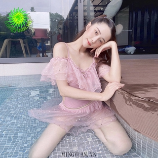 [mingyuan] 2pcs 2020 one-piece swimsuits, small skirt, pink, corded swimsuit, conservative swimsuit thumbnail