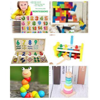 Combo 6 món đồ chơi gỗ An toàn, Thông minh cho bé