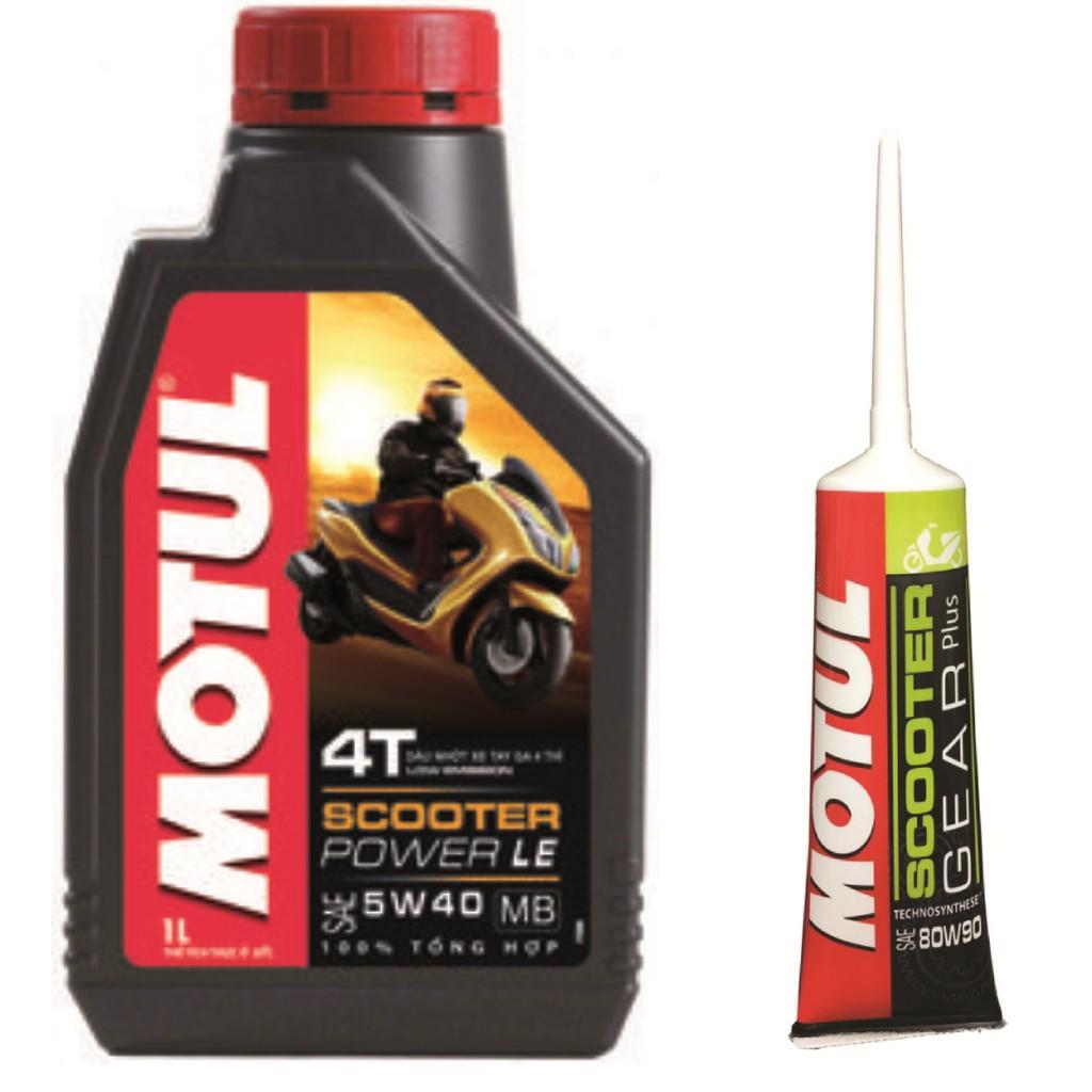 Combo nhớt tay ga MOTUL SCOOTER POWER LE 5W40 1 lít và nhớt láp MOTUL Scooter Gear Plus 80W90 GL-5 1