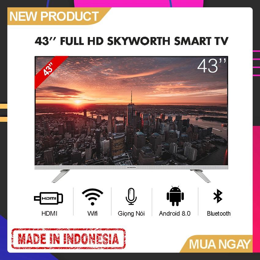 Smart Tivi Led Skyworth 43 inch Full HD Wifi - Tràn Viền - Model 43E6 (Bạc) Tìm kiếm giọng nói HÀNG MỚI 100% CÓ SẴN