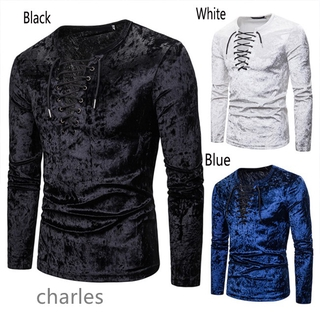 Good Men Solid Color Shirts Long Sleeve Rope Decoration Cotton Tops