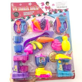 [HÀNG VN] Vỉ đồ chơi nấu ăn bao gồm máy sinh tố, máy ép trái cây, máy làm kem cho bé vào bếp
