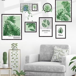 Tranh dán tường trang trí decor nhà hàng KHUNG ẢNH LÁ CÂY - Decal dán tường phòng khách️