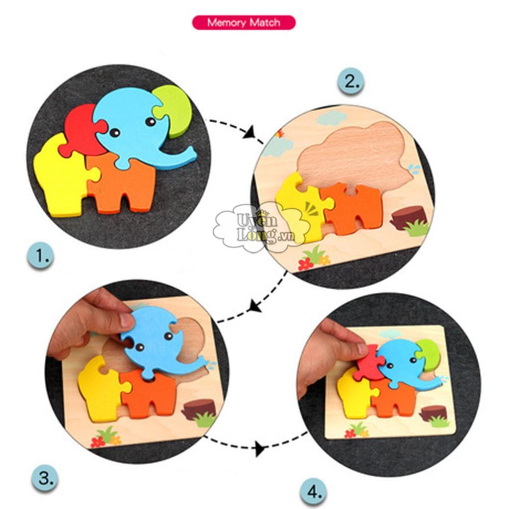 [Mã TOYOCT hoàn 20K xu đơn 50K] Đồ Chơi Bảng Xếp Hình Bằng Gỗ, Loại 3D Dành Cho Trẻ Nhỏ...