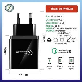 Củ sạc điện thoại 4 cổng Quick Charge QC3.0 hỗ trợ sạc nhanh – Củ sạc điện thoại 4 cổng nhanh hỗ trợ đèn led
