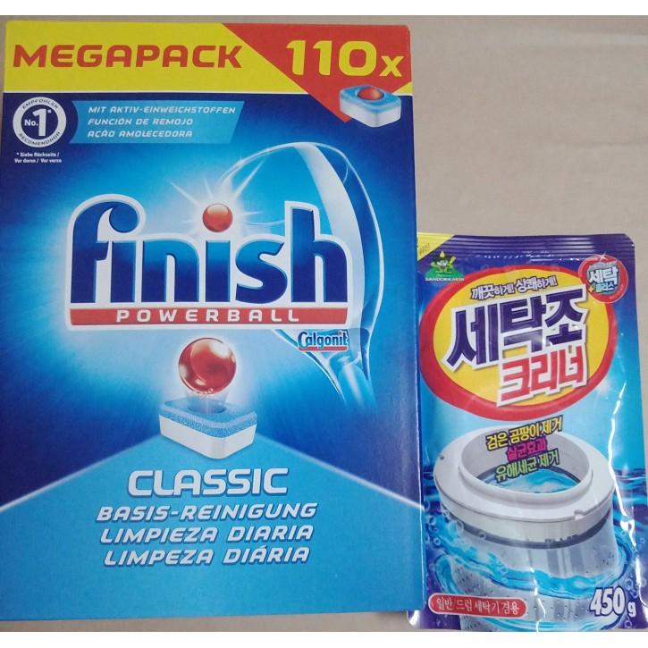 Viên rửa chén ly Finish tổng hợp tặng gói tẩy lồng máy