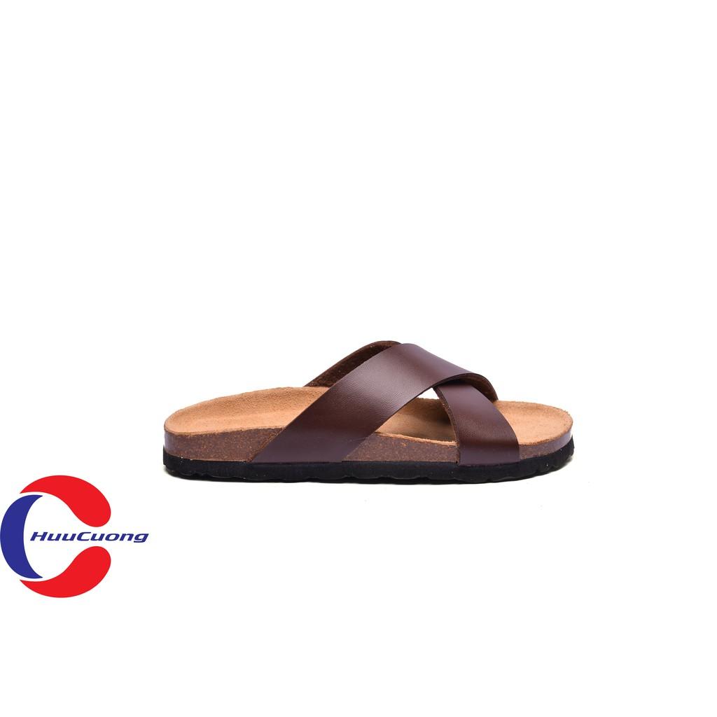 Dép sandal quai chéo da nâu đế trấu | WebRaoVat