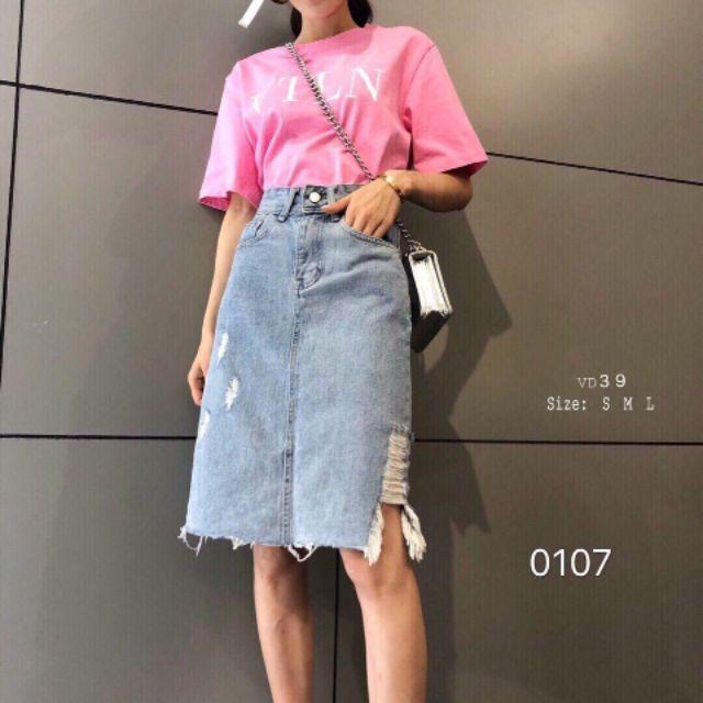 Chân váy jean rách cá tính