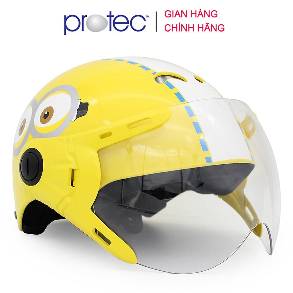 Mũ bảo hiểm trẻ em 1/2 đầu có kính Protec KITTY, họa tiết Minion, an toàn, siêu nhẹ