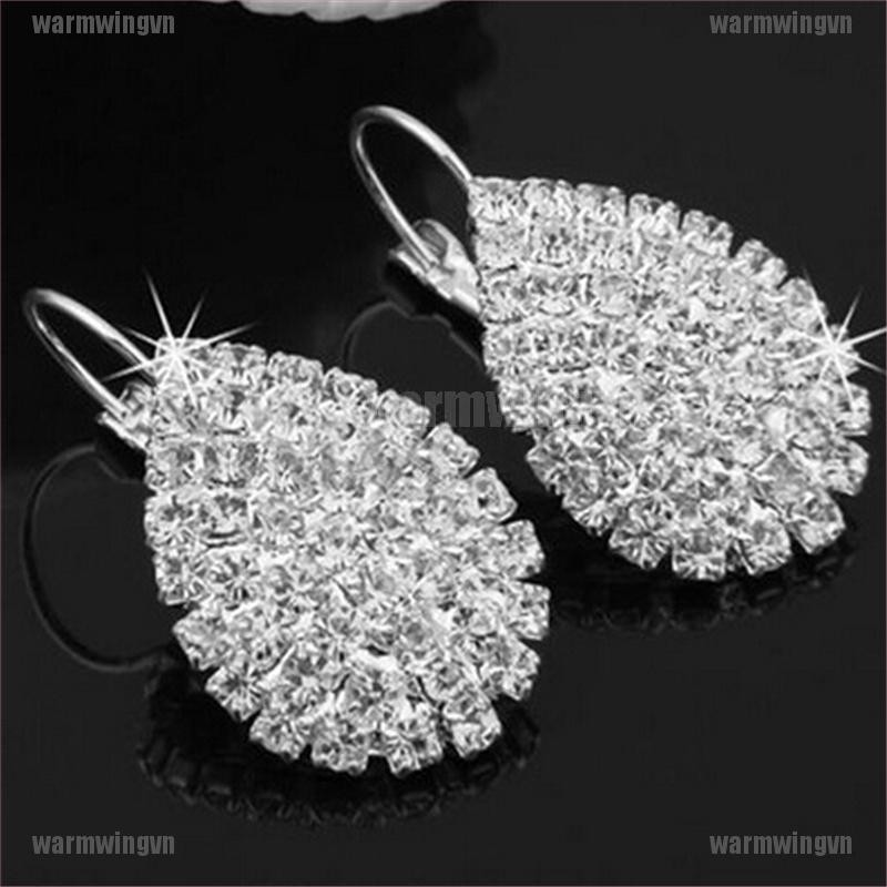 Fashion Women Silver Plated Ear Hook Crystal White Rhinestone Earring Jewelry ingvn