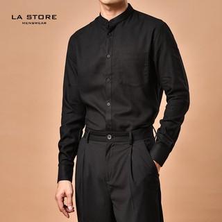 [ROUTINE] Áo sơ mi cổ trụ Đen form regular vải cotton tencel cao cấp