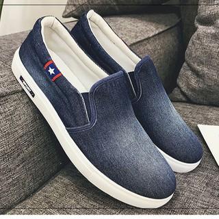 Giày Lười Vải jean Nam phong cách hàn quốc SPIO A034 xanh thumbnail