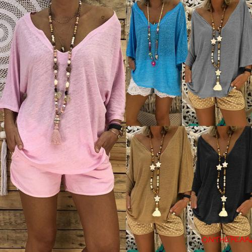 O-L❥Womens Oversized Long Sleeve Ladies Loose Casual Tops T-Shirt Blouse Dress Tops