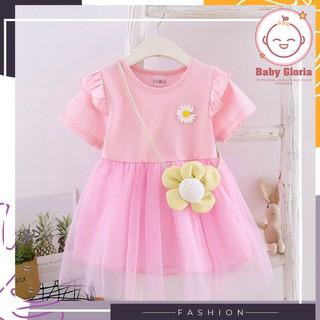 đầm váy lưới công chúa bé nhỏ - cà rốt-bông mai- 1 đến 3 tuổi