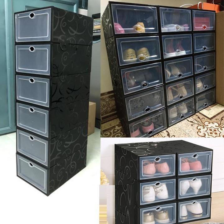 Hộp đựng giày nắp nhựa cứng trong suốt full đen cá tính - Box Sneaker Tặng kèm hút ẩm