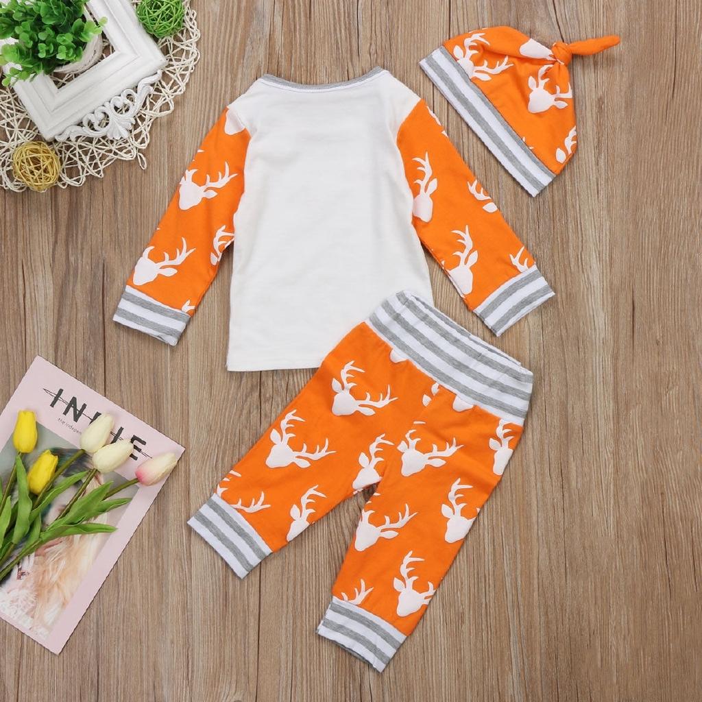 Bộ 3 cái gồm áo thun + quần + nón hình tuần lộc sợi cotton dễ thương cho bé sơ sinh
