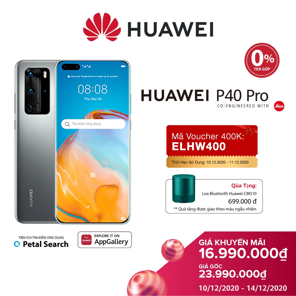 Điện thoại Huawei P40 Pro (8GB/256GB) | Chip Kirin 990 5G 7nm+ Bộ 4 camera Leica siêu tầm nhìn