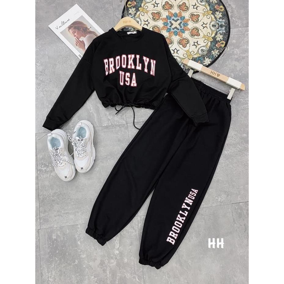 Bộ quần jogger bo gấu áo dài tay dây rút croptop in chữ 2 màu cá tính