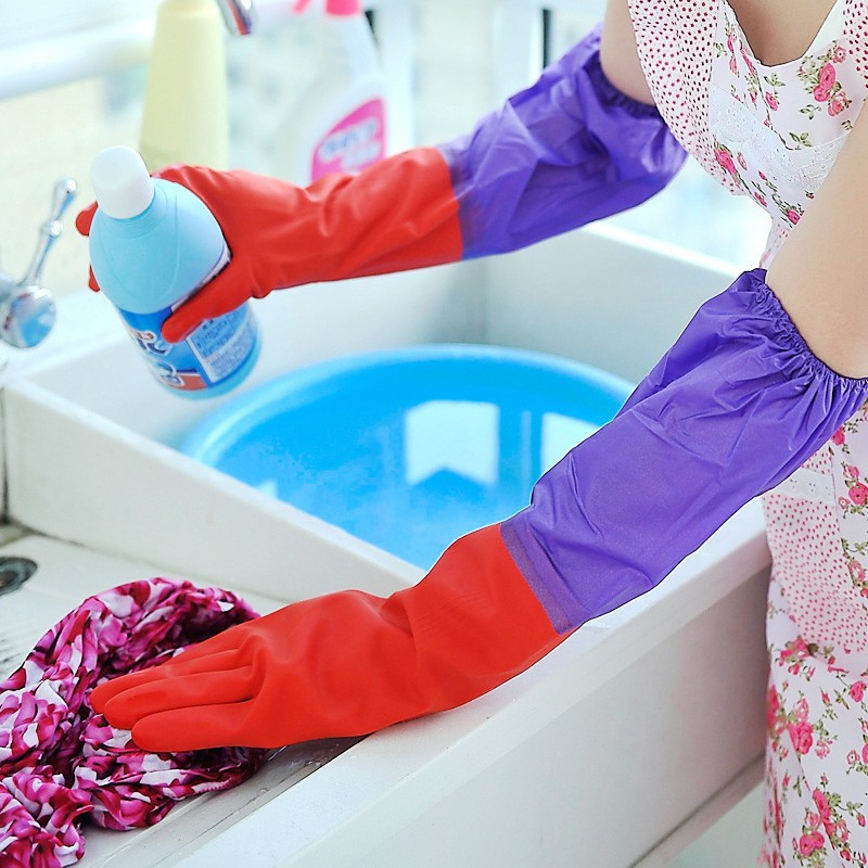 Găng Tay Cao Su Lót Nỉ Tiện Lợi Rửa Bát, Giặt Đồ