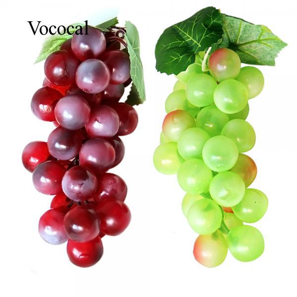 2 Bunch of Soft Plastic Artificial Lifelike Simulation Green and Purple Grapes Model Fake Fruit