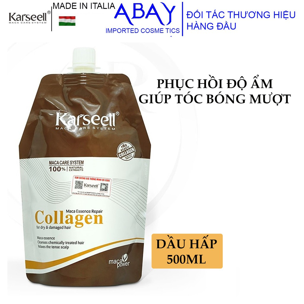 Dầu hấp ủ tóc siêu mượt Karseell Maca Essence Repair Collagen 500ml