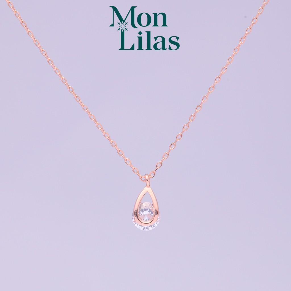 Dây chuyển bạc Mon Lilas Nụ Hoa đính đá cao cấp D122001