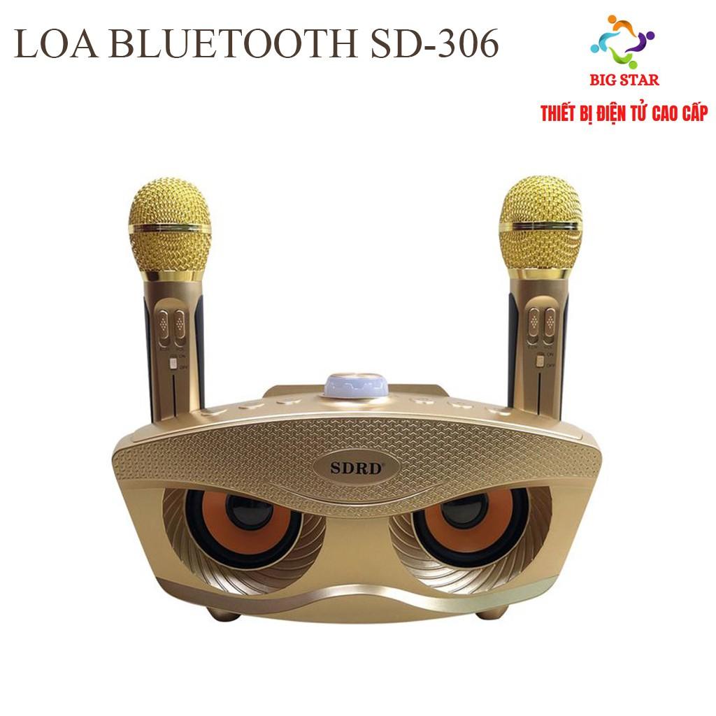 Chất lượng] Loa kèm micro hát karaoke Bluetooth SD-306 Không dây- tặng kèm 2  mic - BH 6 THÁNG