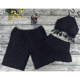 Set quần đôi nam nữ mặc đi biển đen chất thun lạnh