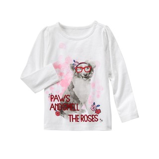Áo dài tay bé gái Gymboree Paws & Roses Tee size 4-5-6 tuổi _ hàng chính hãng authentic Mỹ thumbnail