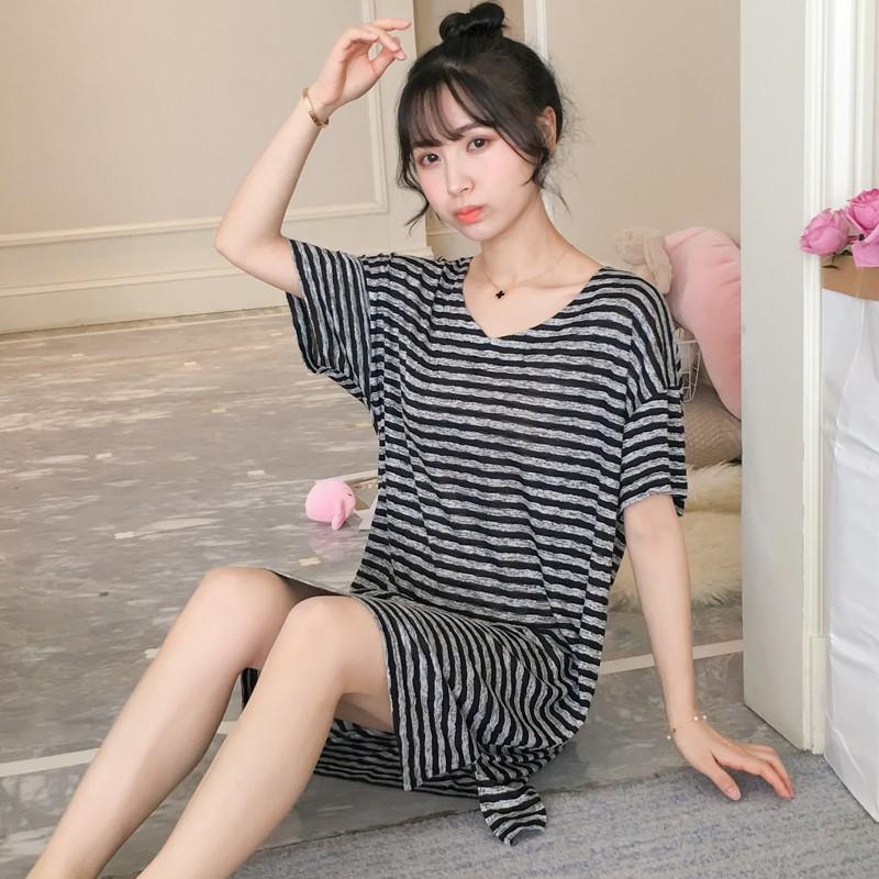 Đồ ngủ nữ mùa hè ngắn tay Hàn Quốc Tươi ngọt Sinh viên Cotton Loose Middle Long Night Night Summer Service Service