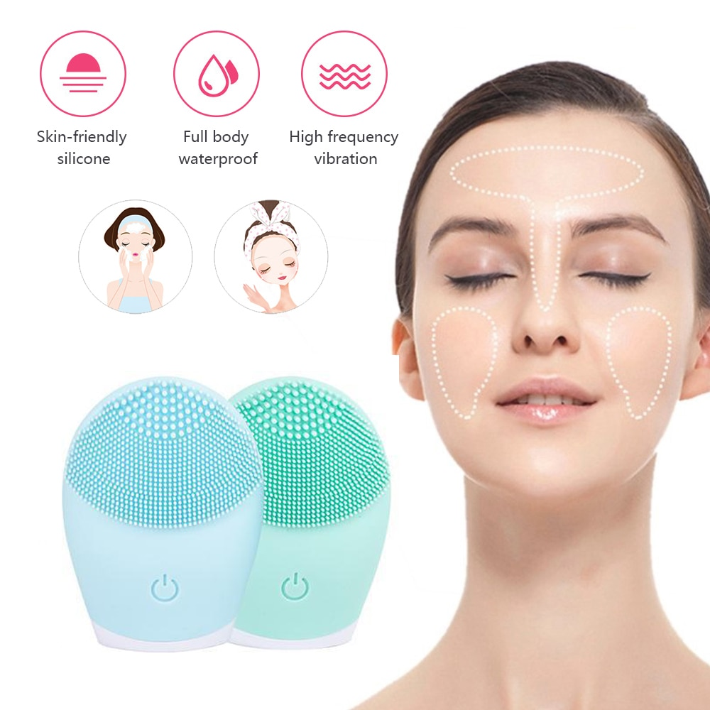 2020 Silicone Face Cleansing Brush Facial Cleansing Tool Soft Deep Face Pore Cleanser Brush Mini Electric Massage Waterproof #AY
