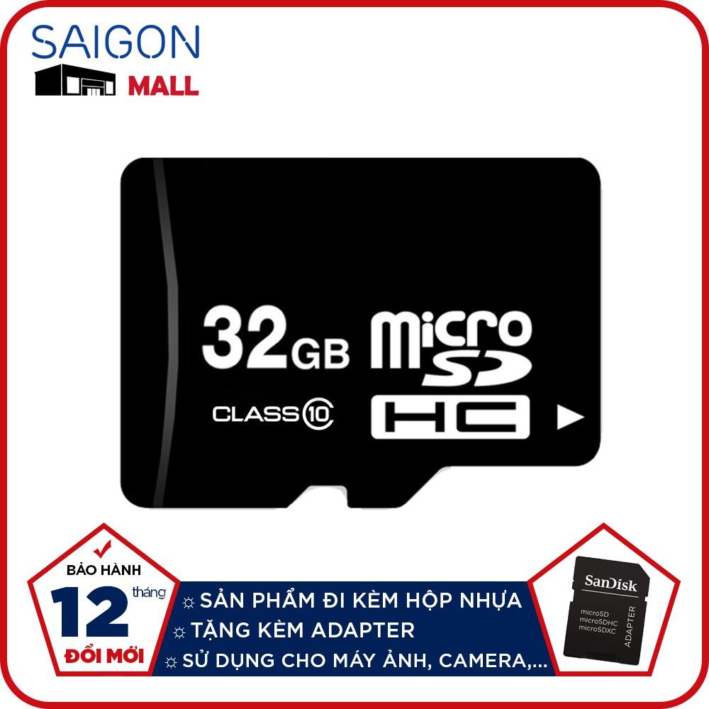 Thẻ nhớ 32GB micro SDHC class 10 tặng kèm Adapter (mẫu ngẫu nhiên) - Bảo hành 12 tháng đổi mới