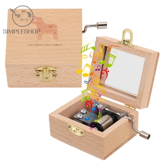 SIMPLE Mother s Day Wooden Hand Crank Valentine s Day Antique Engraved Music Box Thanksgiving Day Birthday Classical Memorial Gifts Musical Boxes thumbnail