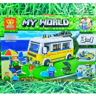 Lego MineCraft – My World Lắp Ráp Xe Dã Ngoại , Xe Mui Trần Hoặc Đài Quan Sát 3 in 1 ( 422 Mảnh )