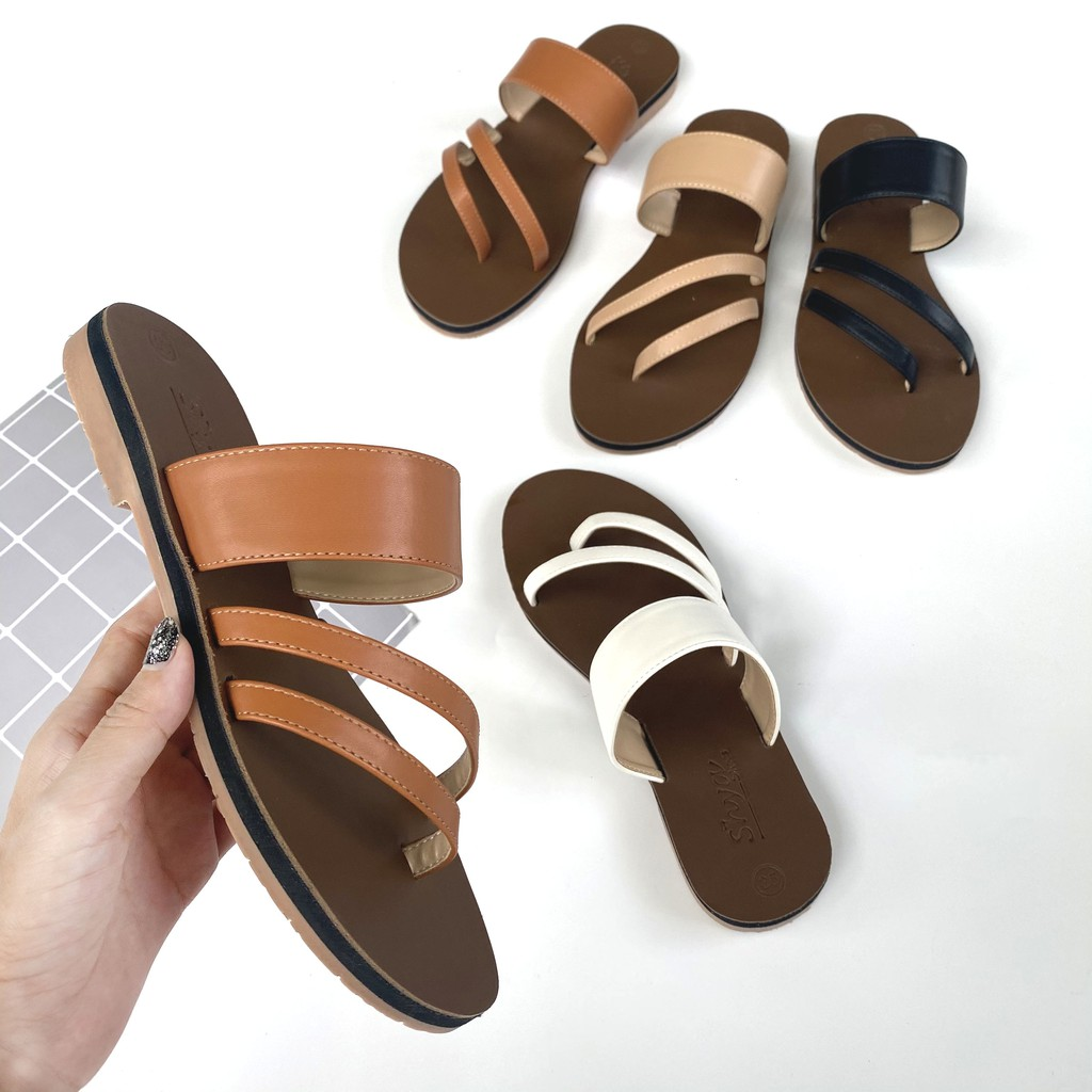 Dép lê nữ thời trang đẹp kiểu dáng sandal đi biển quai ngang xỏ ngón đế bệt cao cấp chính hãng có Bigsize S035