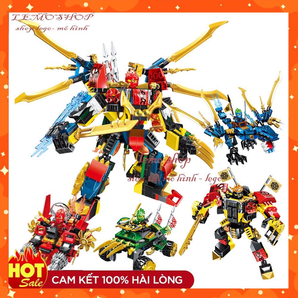 Đồ chơi lắp ráp xếp hình Ninja Non Lego Ninjago PRCK 61035 Xe Mech Robot  Rồng Xanh Minifigures Season phần 11