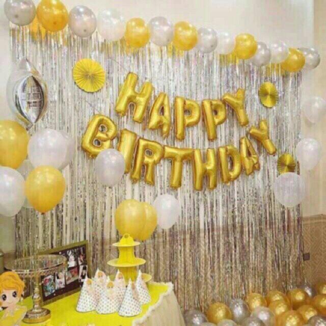 Set bóng trang trí happy birthday, 2 rèm +50 bóng nhũ chọn màu